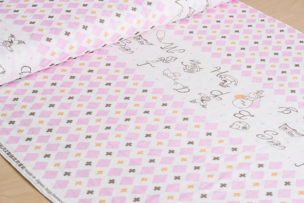 Japanese double gauze fabric by Shinzi Katoh - cotton kawaii fabric - Toys in pink - 1/2 YD