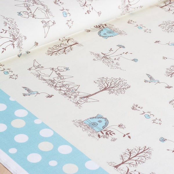 Shinzi Katoh | Japanese fabric - kawaii fabric - Snow White - oxford cotton - blue - 1/2 YD