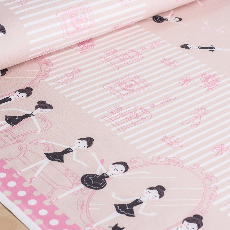 Shinzi Katoh | Japanese fabric - kawaii ballerinas - oxford cotton - pale pink - 1/2 YD