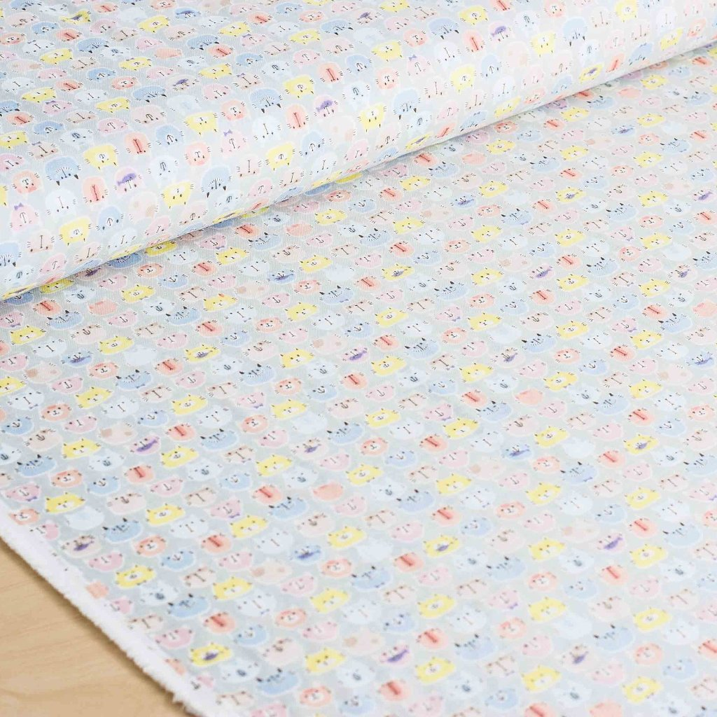 Cosmo | Japanese fabric - cotton double gauze fabric with kawaii cats - 1/2 YD