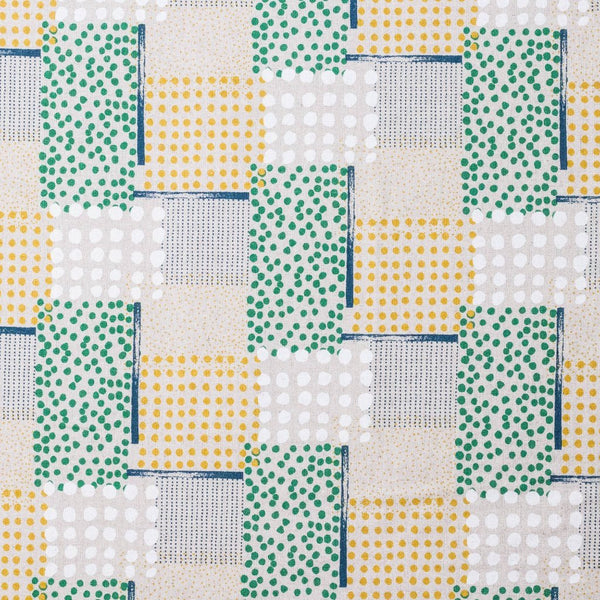 Japanese fabric by Hokkoh - geometric polka dots - yellow and green - 1/2 YD