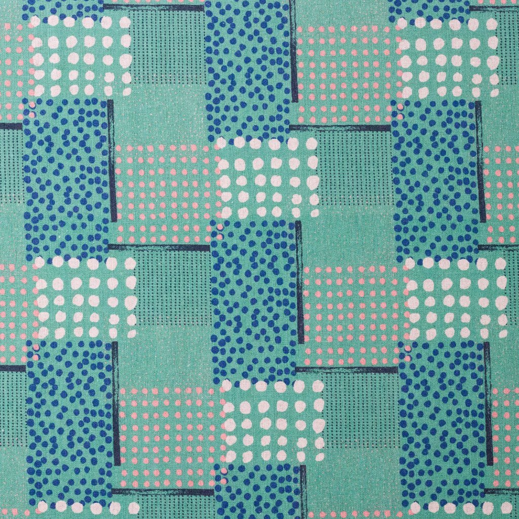 Japanese fabric by Hokkoh - geometric polka dots - green - 1/2 YD