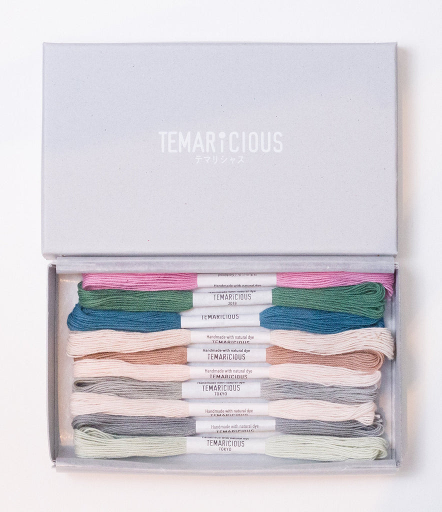 Hand dyed embroidery thread set made with natural dye - 10 skeins - Sorbet by Temaricious