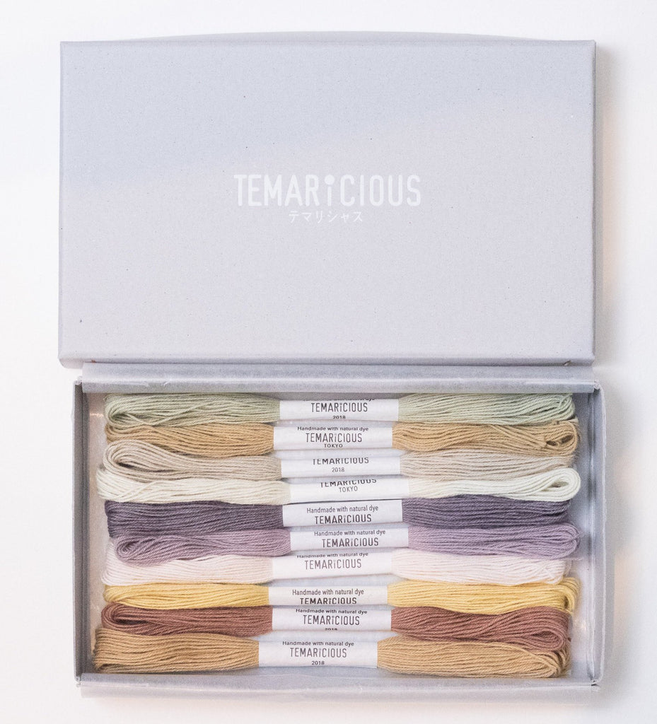 Hand dyed embroidery thread set made with natural dye - 10 skeins - Morning Haze by Temaricious