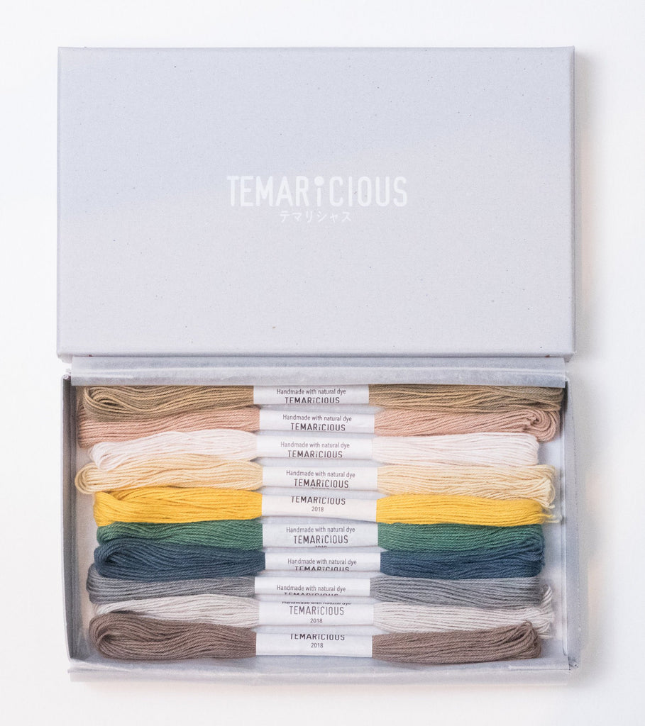 Hand dyed embroidery thread set made with natural dye - 10 skeins - Mandarin Field by Temaricious
