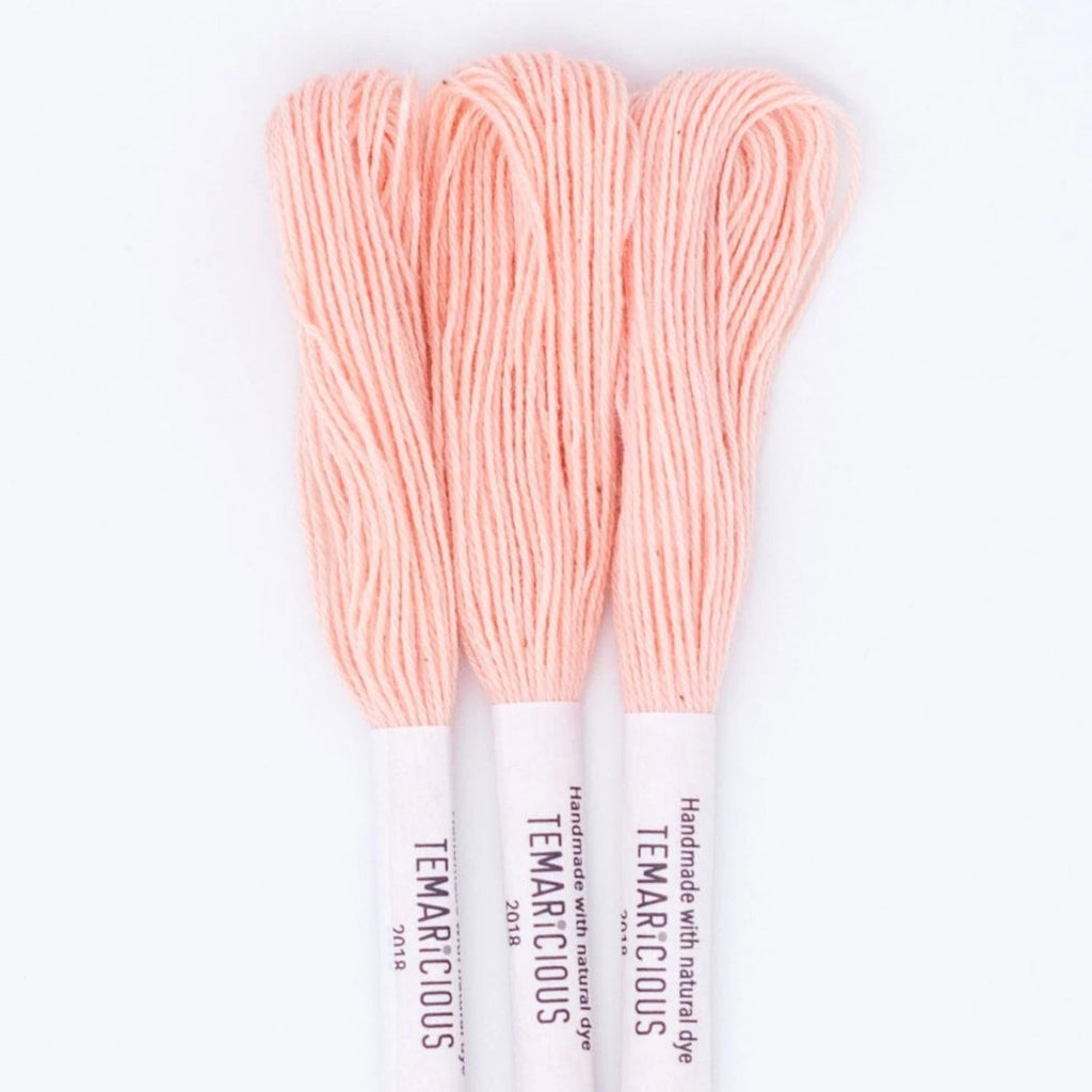 Temaricious #R15 - hand dyed embroidery thread - pale pink - single 12.5m cotton skein