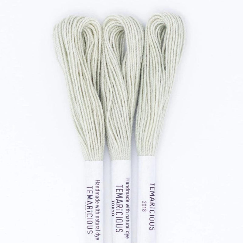 Temaricious #G3 - hand dyed embroidery thread - pale green - single 12.5m cotton skein