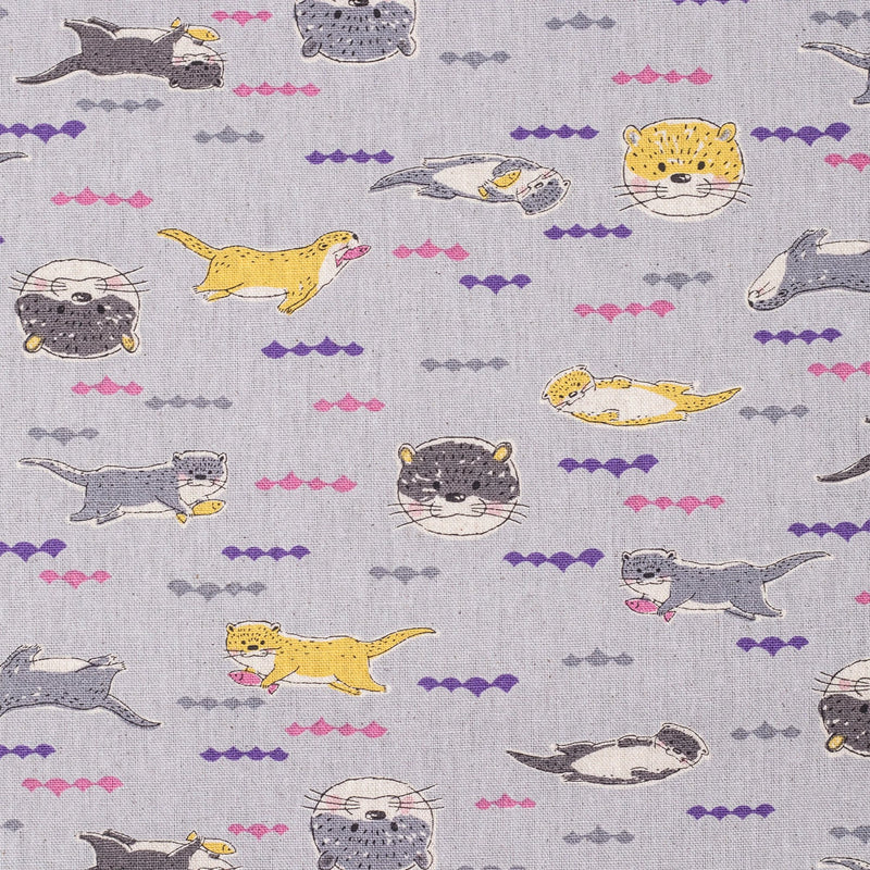Kawaii Japanese otter fabric - cotton and linen canvas - Kokka 2019 Rare Animals collection - 1/2 YD