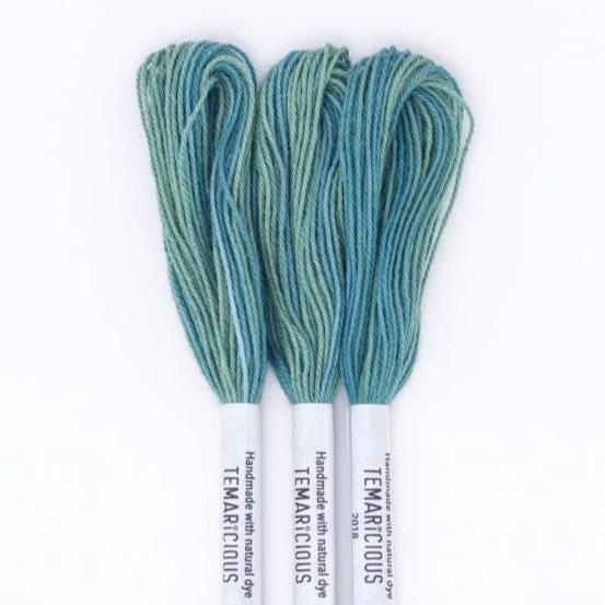 Temaricious #M11 - hand dyed embroidery thread - blue green - single 12.5m cotton skein