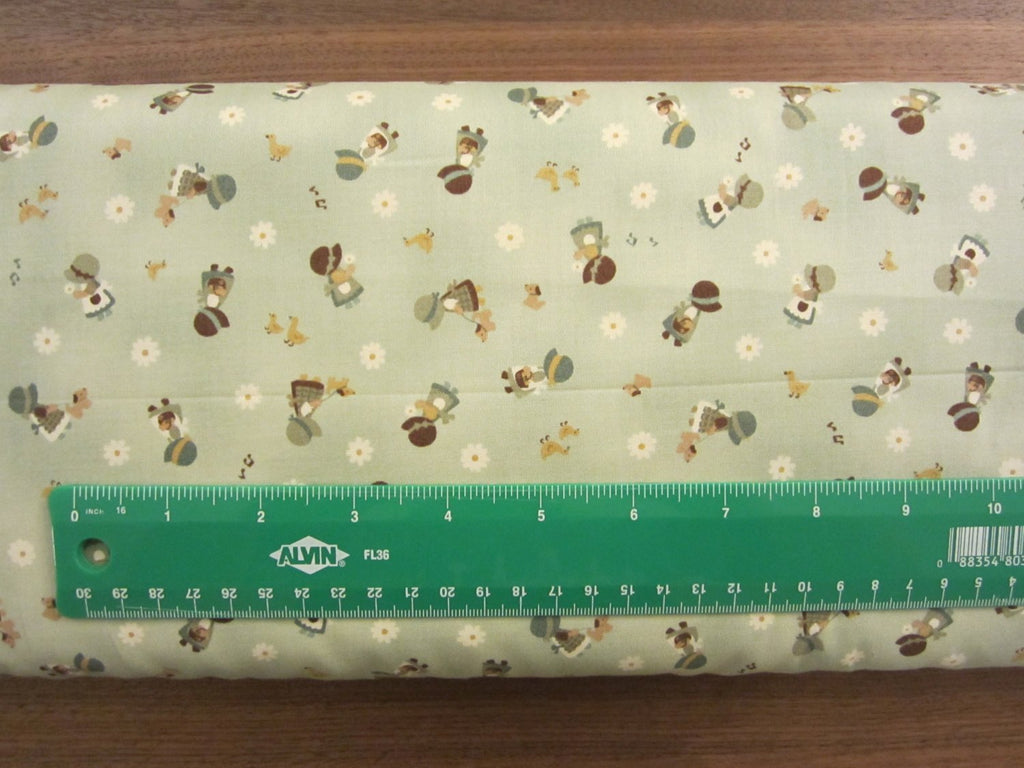 Kawaii Japanese Fabric by Cosmo - Cotton Broadcloth - Country Home in Sage Green - 1/2 YD
