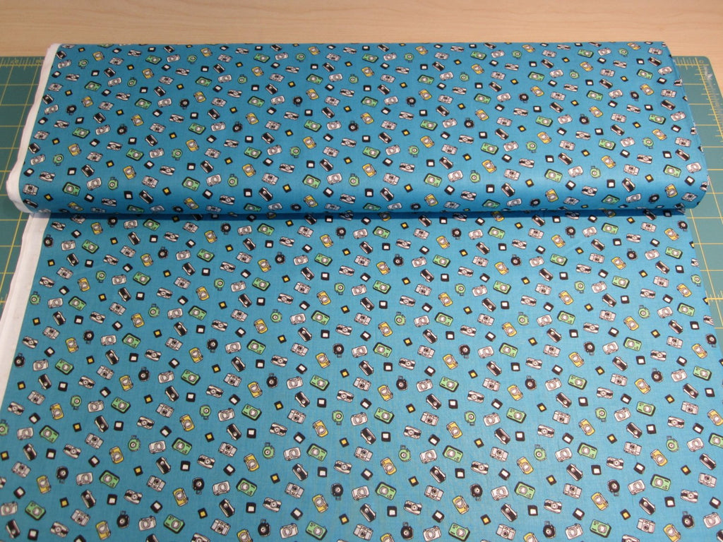Japanese camera fabric in cotton lawn by Hokkoh - 1/2 YD