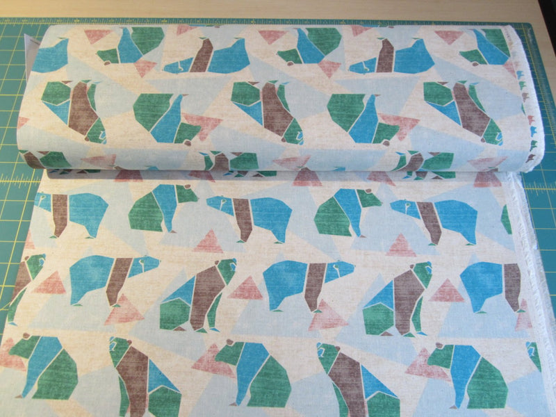 Japanese bear fabric in lightweight canvas by Kokka - 1/2 YD