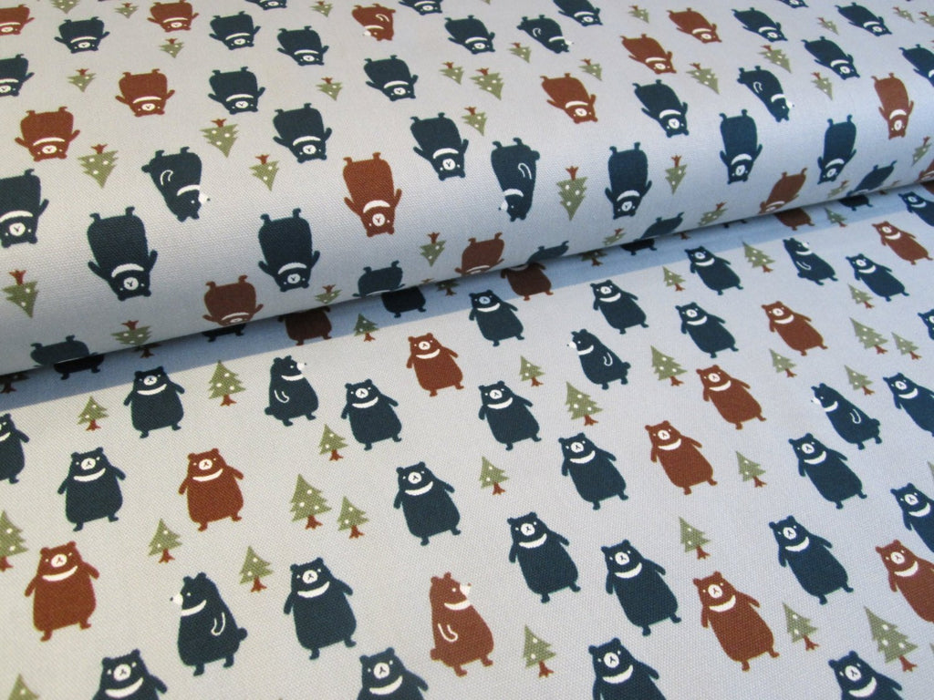 Japanese bear fabric by Kokka in blue oxford cotton - 1/2 YD