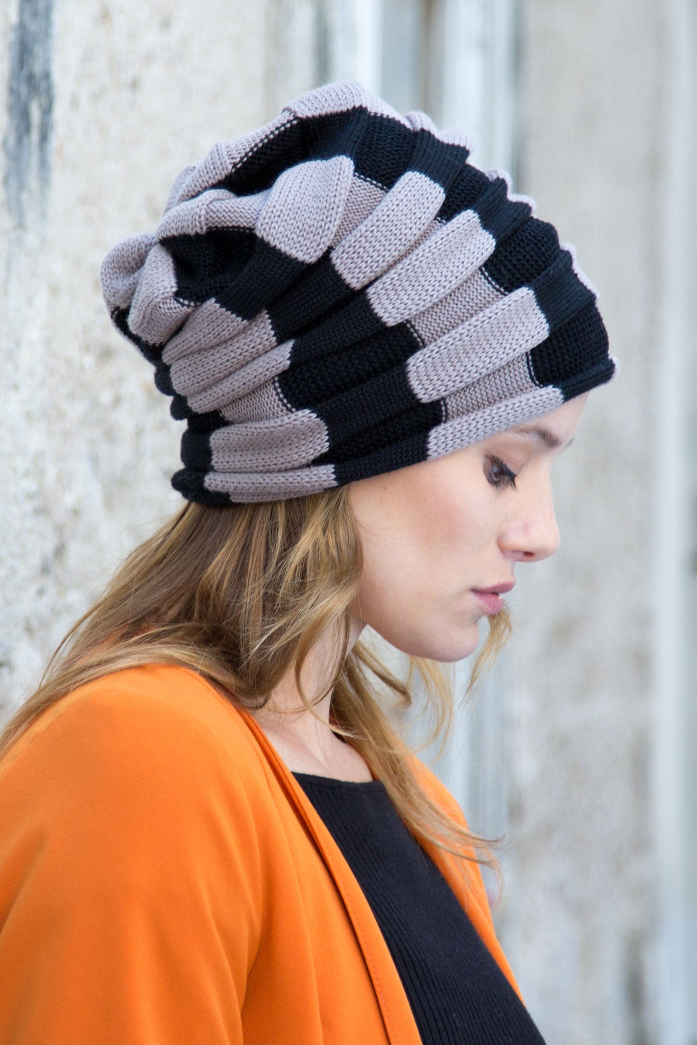 Iris knit beanie black & grey