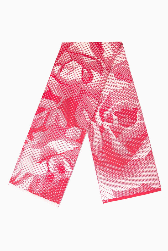 Reflective of love, enthusiasm and joy, our Roses Scarf adds a sensual highlight to your outfit. The original pixelated design of rose flowers is knitted of premium Italian merino wool, ensuring superior softness, warmth and longevity, salmon & white | Limited Edition | Luxe Gift