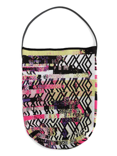 Knitted premium cotton bag with a one of a kind glitched design inspired by Art-deco design style.