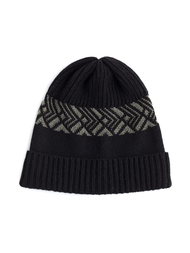 Art deco beanie lambswool - Black