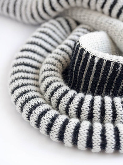 Women's sculptural kid mohair scarf in black and white color