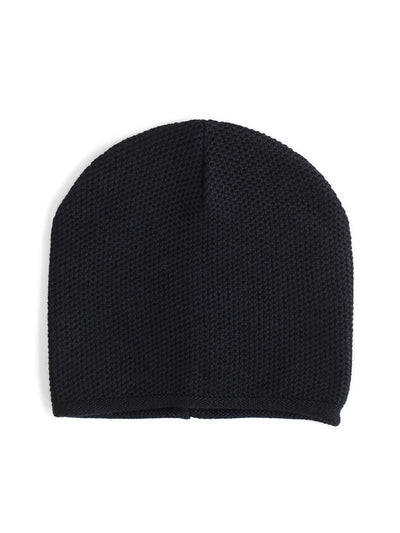 Knit beanie with a grainy texture is knitted in top-quality Italian merino wool. Black colour.