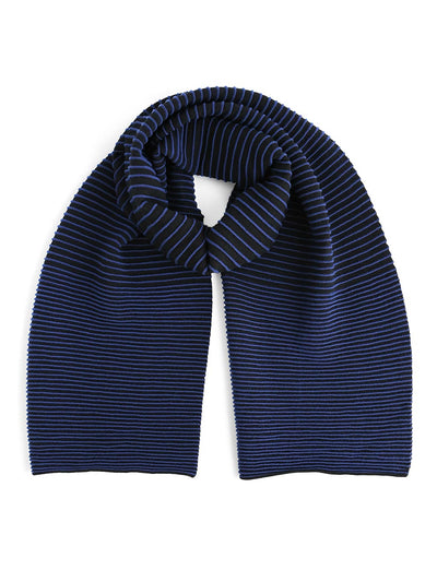 Our soft merino wool scarf has a unique texture with a gradient of knitted ribs. Black and blue knitted scarf.