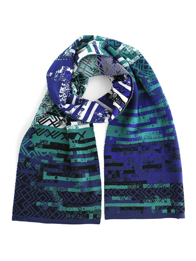 Glitch scarf with a knitted glitched pattern inspired by Art deco design style. It's knitted in extra fine Italian merino wool. Scarf with blue and green colour shades.