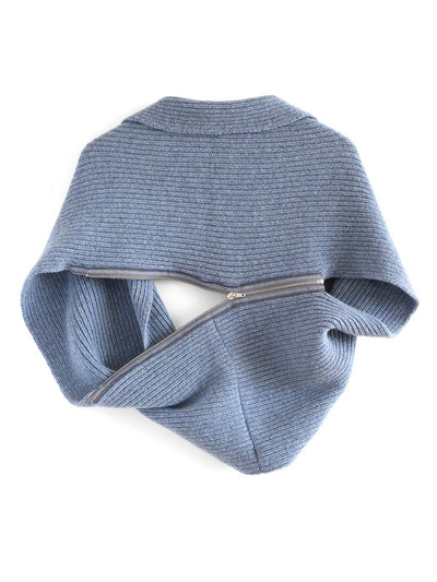 Infinity scarf and bolero cardigan in one, knitted in soft and warm Italian merino lambswool. Denim blue colour.
