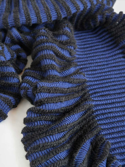 Women's sculptural kid mohair scarf in black and blue color