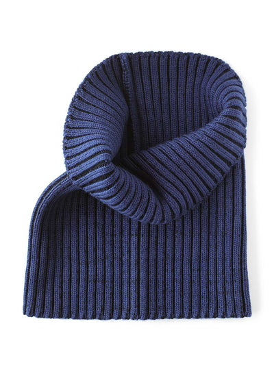 Knitted Neck warmer made in premium merino wool. Black and navy colour.