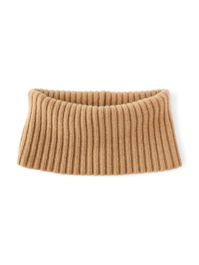 Women's neck warmer knitted in merino lambswool. Camel colour.