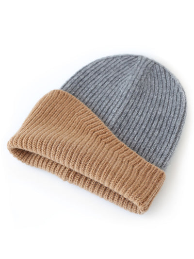 A classic beanie reshaped into a fresh asymmetrical form with a colour block design. Camel and grey colour.