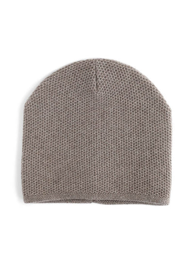 Knit beanie with a grainy texture is knitted in top-quality Italian merino wool. Brown grey colour.