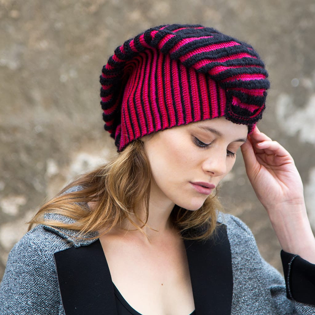 Cauliflower Hat - Raspberry & Black