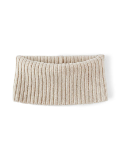 Women's neck warmer knitted in merino lambswool. Ivory colour.