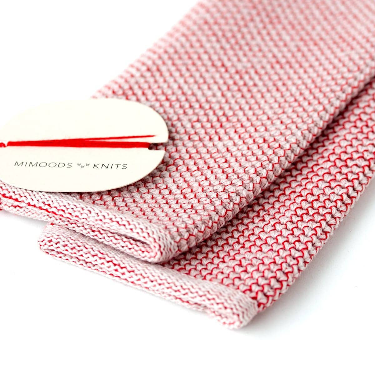 Knit Hand Warmers - Ivory & Red