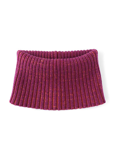 Knitted Neck warmer made in premium merino wool. Aubergine and orange colour.