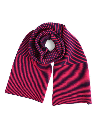 Our soft merino wool scarf has a unique texture with a gradient of knitted ribs. Hot pink & purple knitted scarf. knitted scarf.