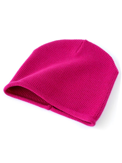 Knit beanie with a grainy texture is knitted in top-quality Italian merino wool. Hot pink colour.