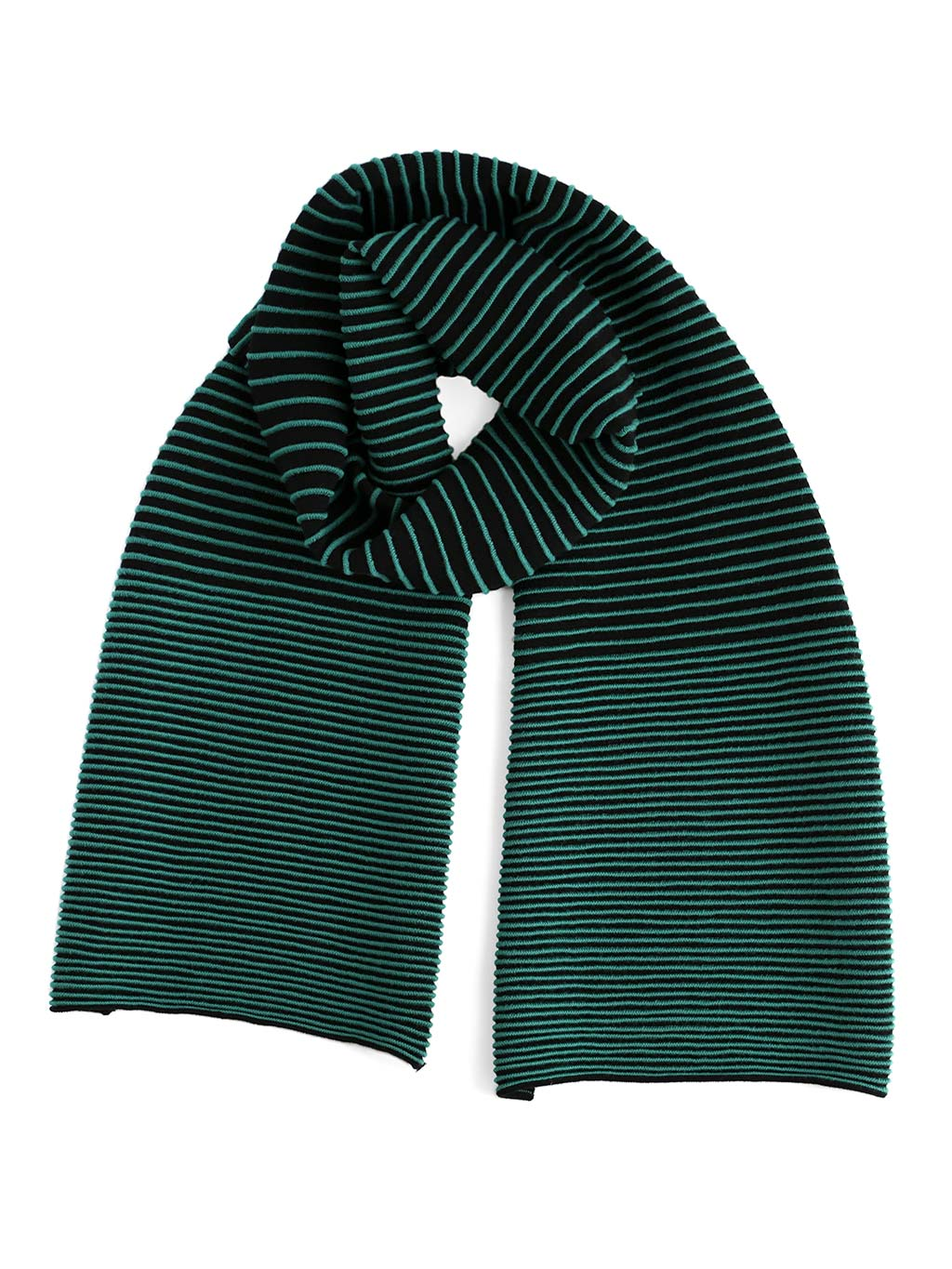 Our soft merino wool scarf has a unique texture with a gradient of knitted ribs. A black and green knitted scarf.