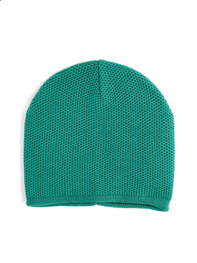 Knit beanie with a grainy texture is knitted in top-quality Italian merino wool. Jade Green colour.