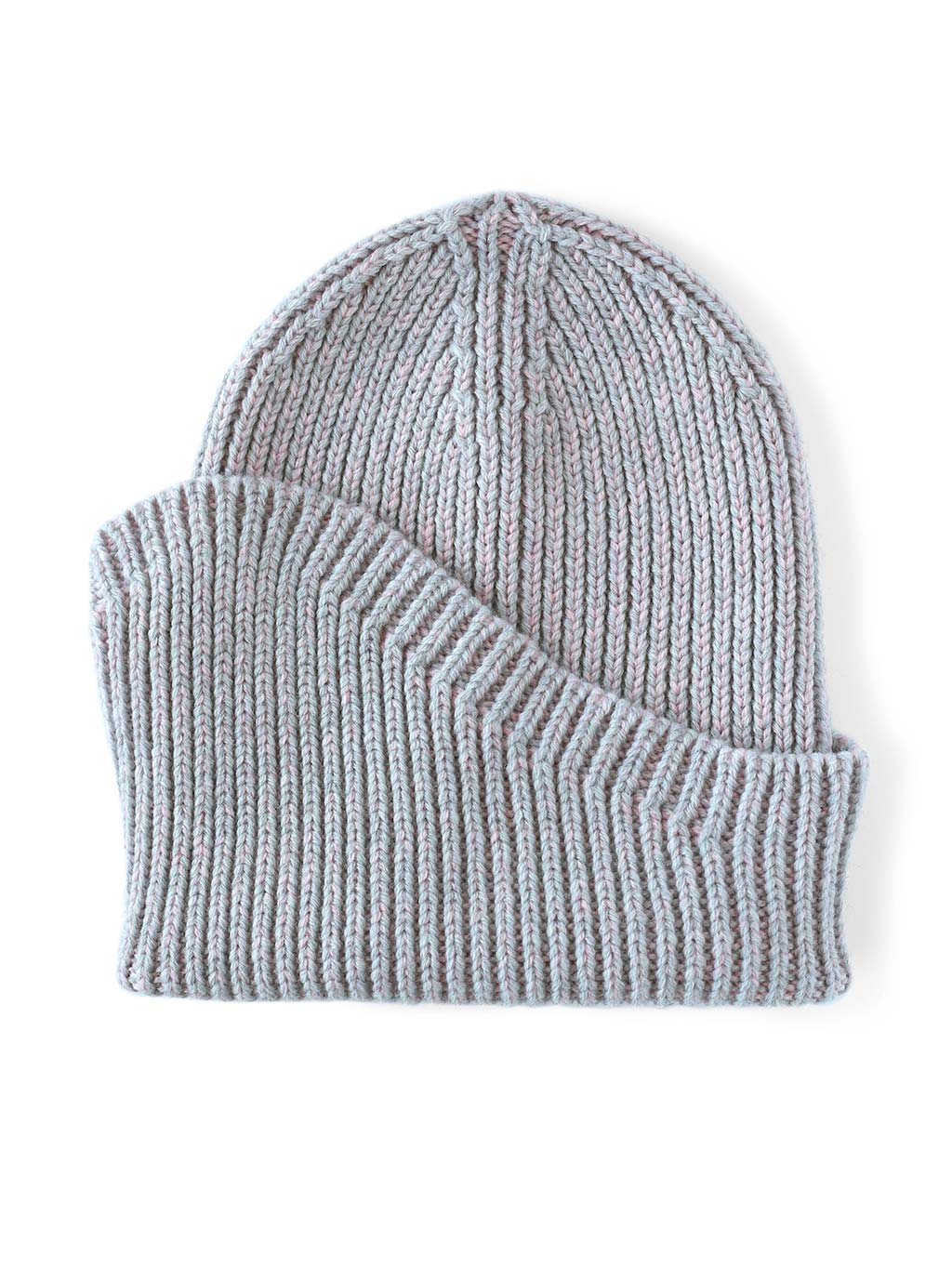 A classic beanie reshaped into a new asymmetrical form, knitted with two colours in premium merino wool. Light grey and pink colour.