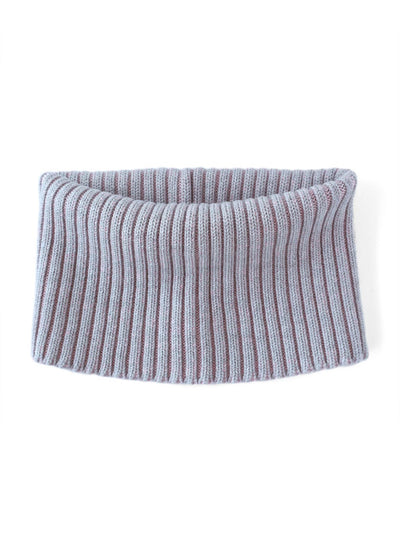 Knitted Neck warmer made in premium merino wool. Light grey and candy pink colour.