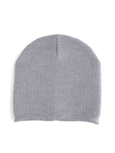 Knit beanie with a grainy texture is knitted in top-quality Italian merino wool. Light grey colour.