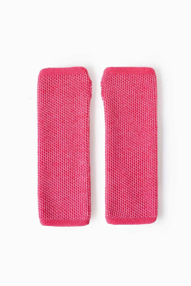 Knit Hand Warmers - Salmon & White