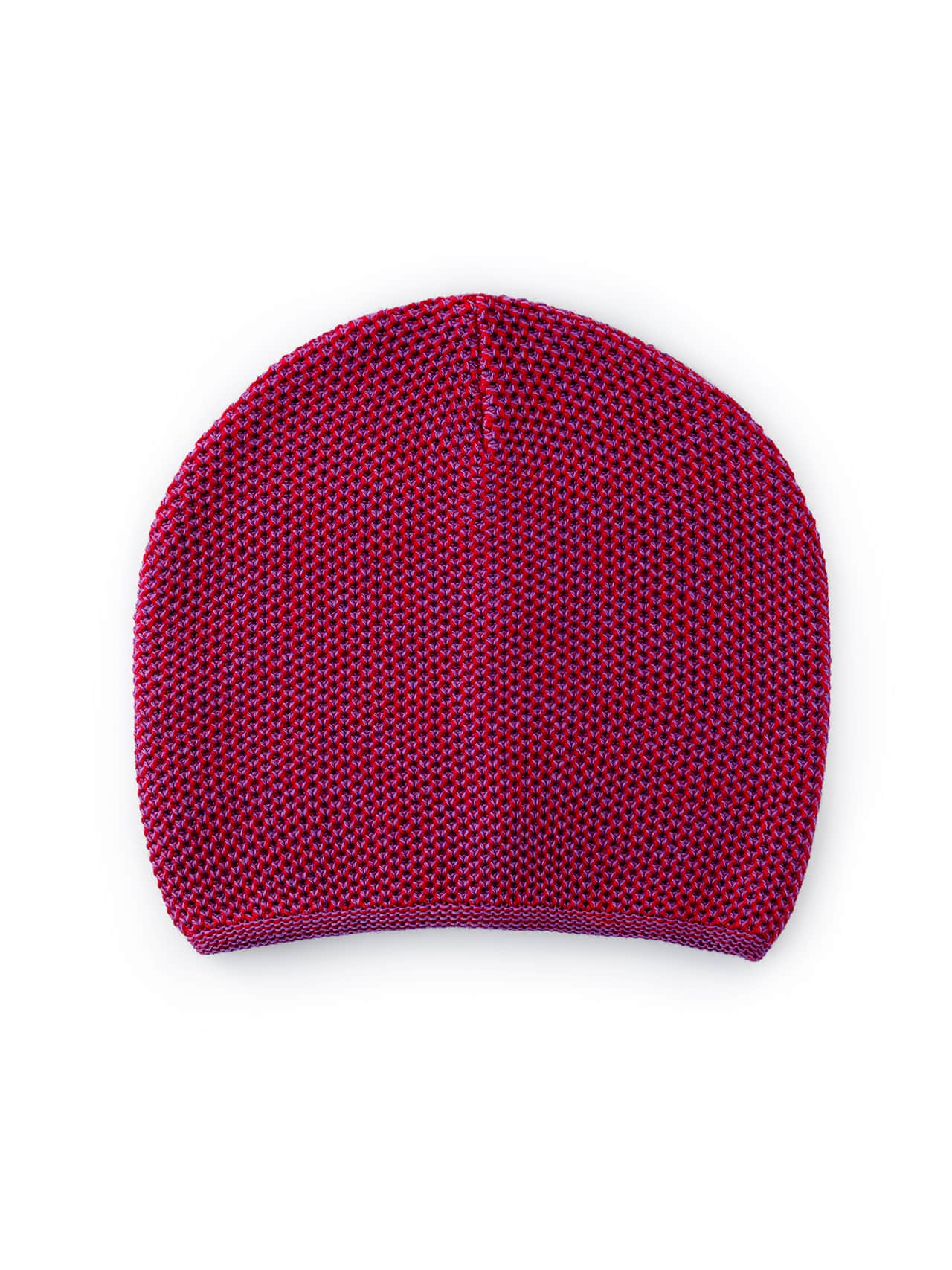 Knit Beanie - Red & Purple