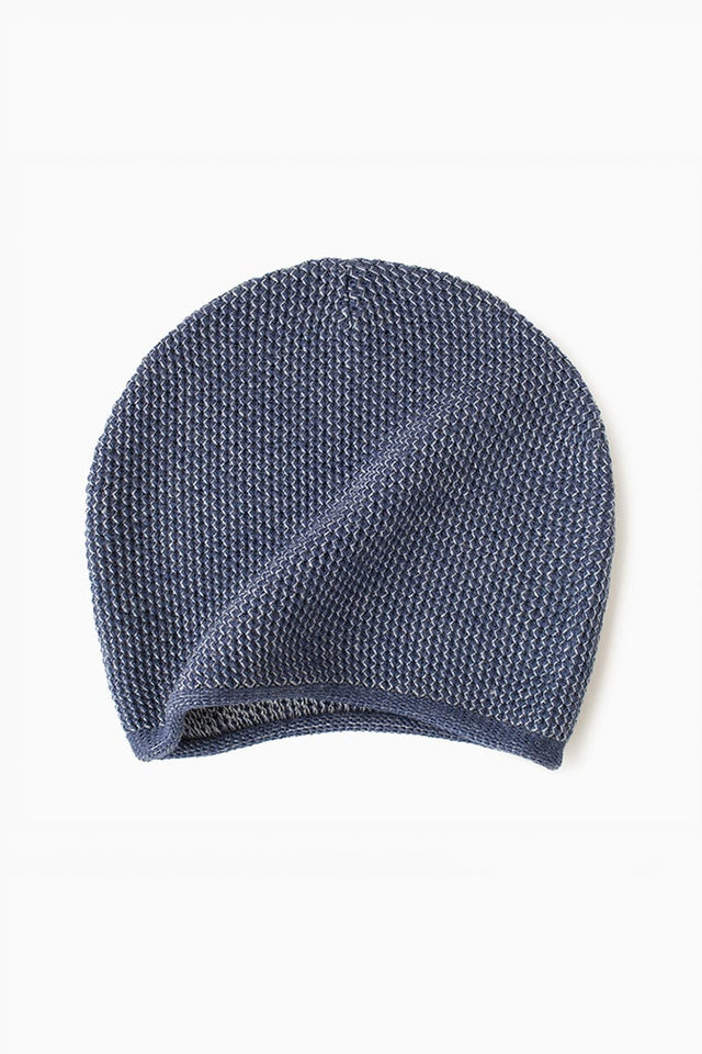 Knit Hat - Light Grey & Blue Marine