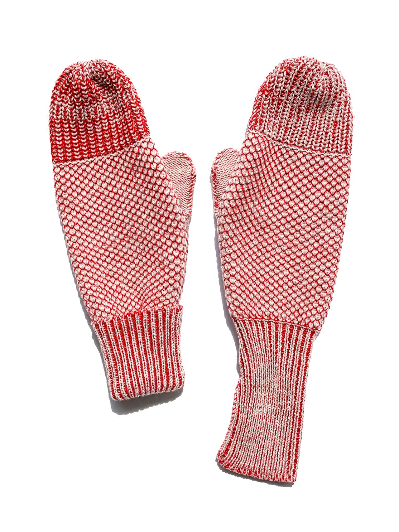 knit mittens - red & ivory