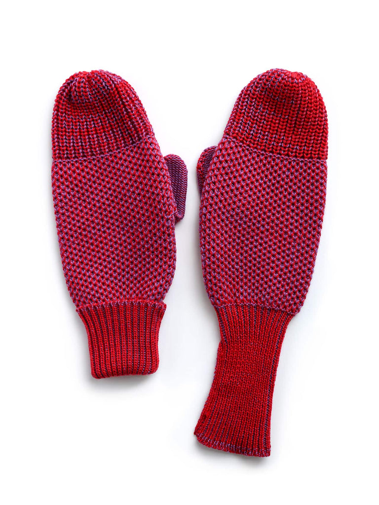 knit mittens - red & purple