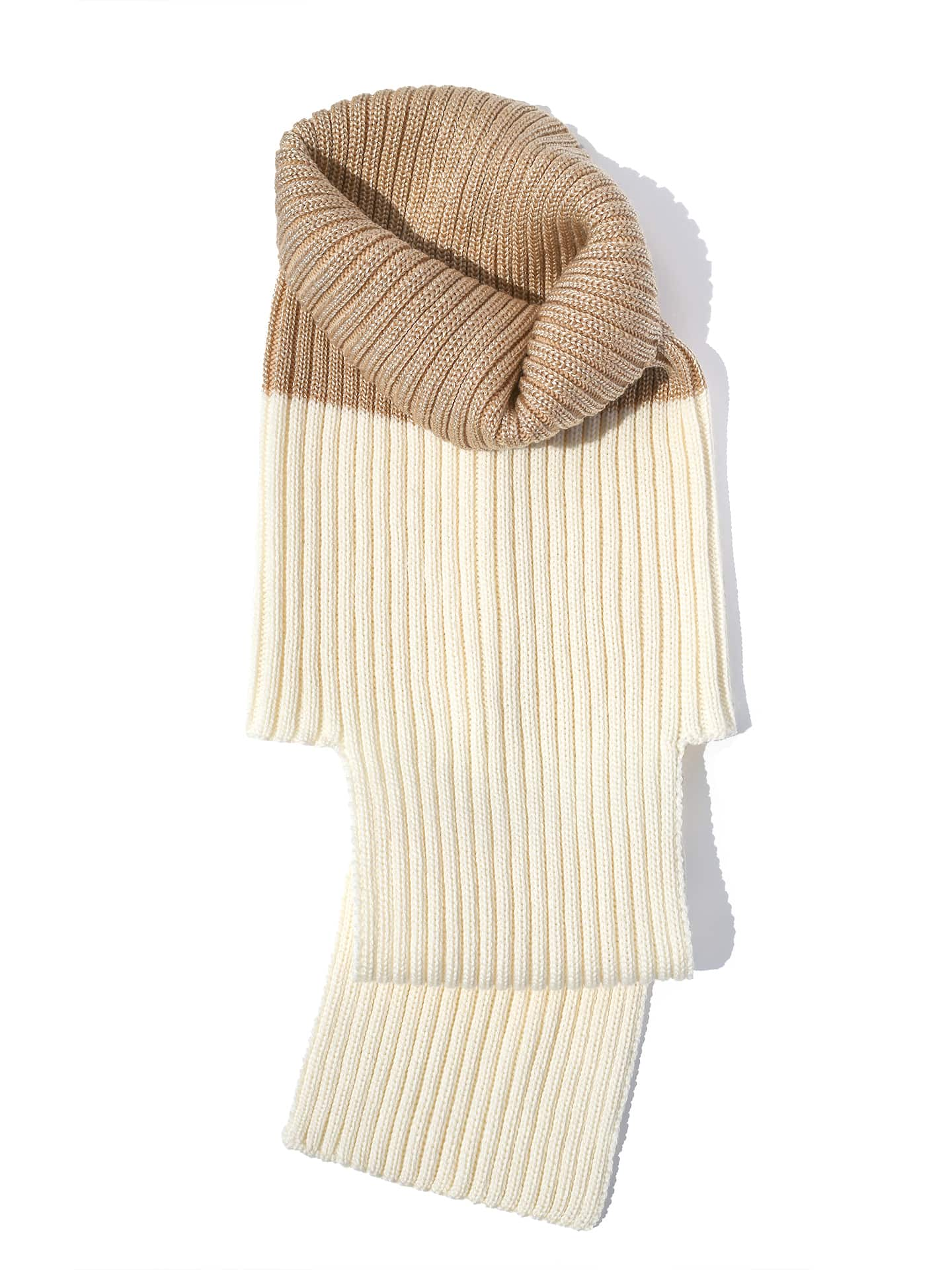 Extended Neck Scarf - Gold & White