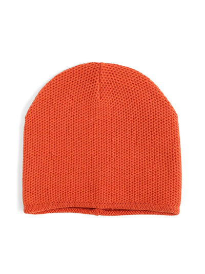 Knit beanie with a grainy texture is knitted in top-quality Italian merino wool. Orange colour.