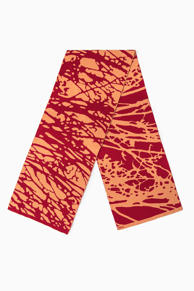 Painted Tree Scarf - Cherry & Ochre